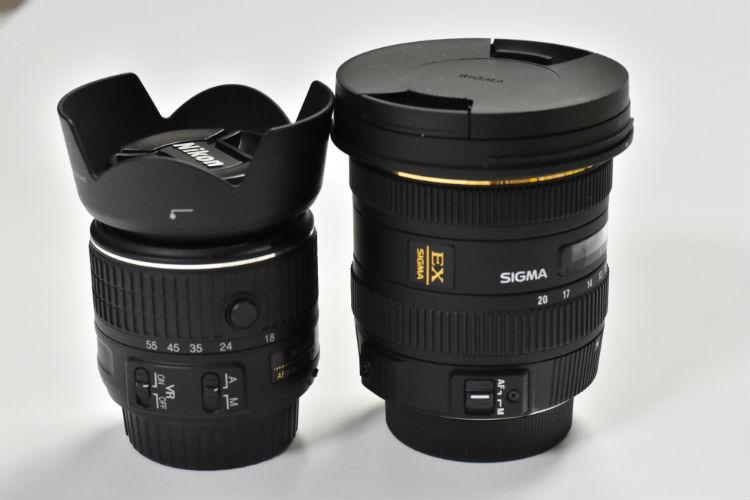 標準キットレンズとSIGMA超広角レンズの大きさの比較