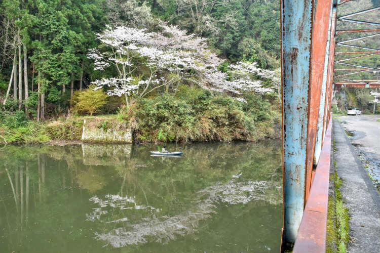 三島湖の水面に写る桜とカヤック