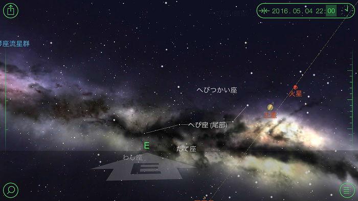 22時の天の川の位置