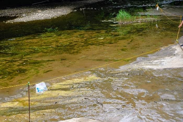 濃溝の滝のロープ