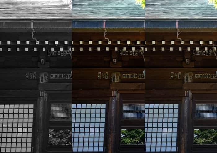 松戸市本土寺の本堂で比較