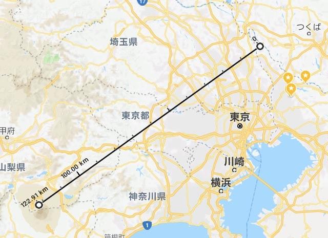 関宿城から富士山の距離