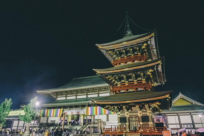 成田山の初詣をフィルム調で現像