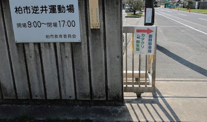 カタクリ群生地の臨時駐車場