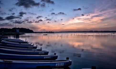 印旛沼の日の出撮影