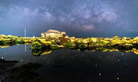 漁師小屋と天の川スポット