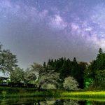 飯給駅の桜と天の川